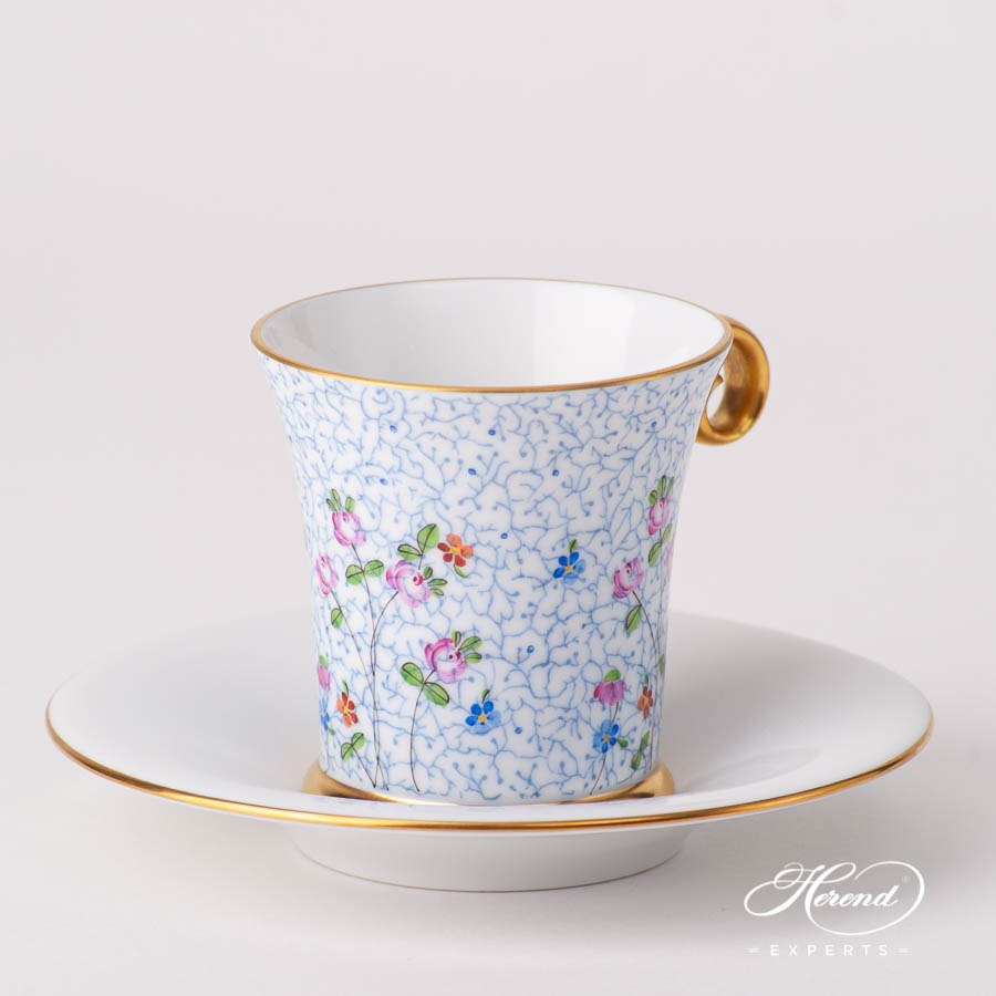 Coffee / Espresso Cup w. Saucer 4914-2-00 QHF1 Small Flowers pattern. Herend fine china