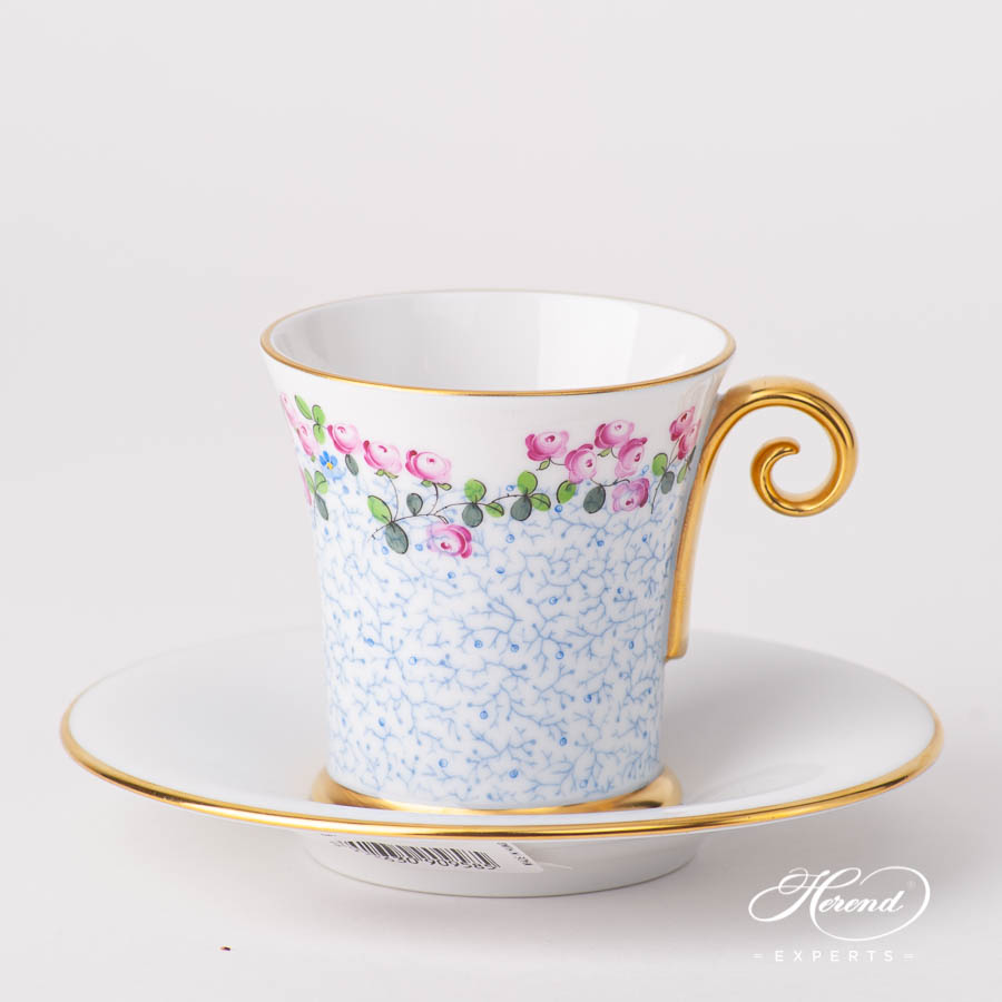 Coffee / Espresso Cup w. Saucer 4914-2-00 QHF2 Small Flowers pattern. Herend fine china