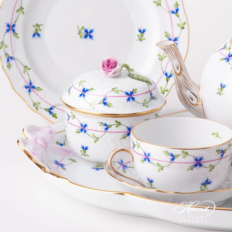 Tea Set for 2 People w. Ribbon Tray - Herend Cornflower Blue Garland PBG design. Herend fine china