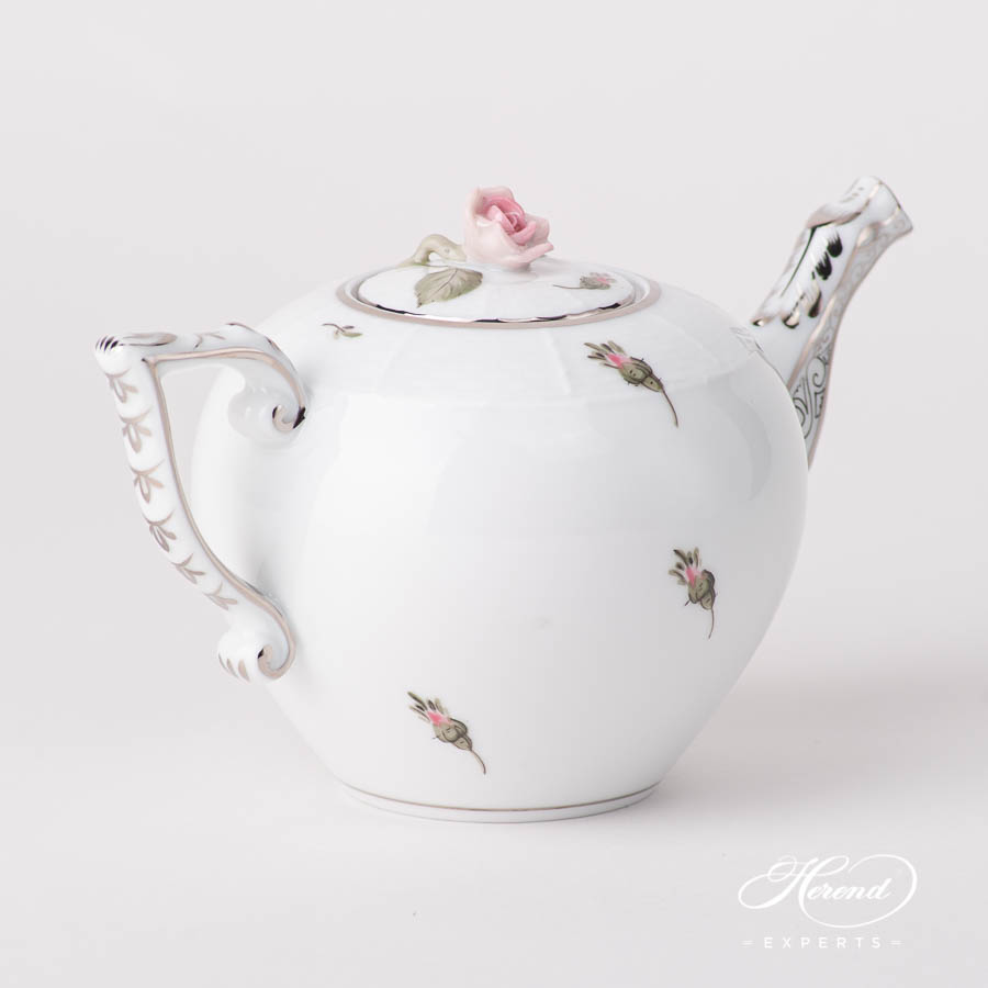 Mini Tea Pot w. Rose Knob 608-0-09 VGR-PT Vienna / Viennese Rose Platinum design. Herend fine china