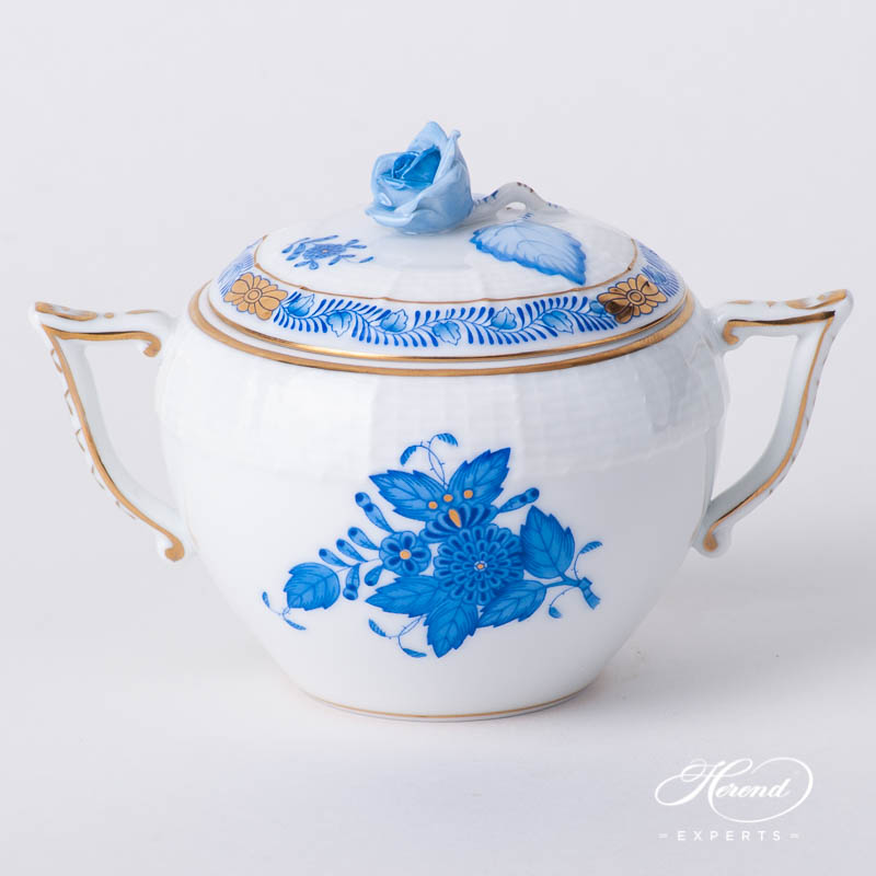 Sugar Basin / Candy Jar w. Rose Knob 472-0-09 AB Chinese Bouquet / Apponyi Blue design. Herend fine china