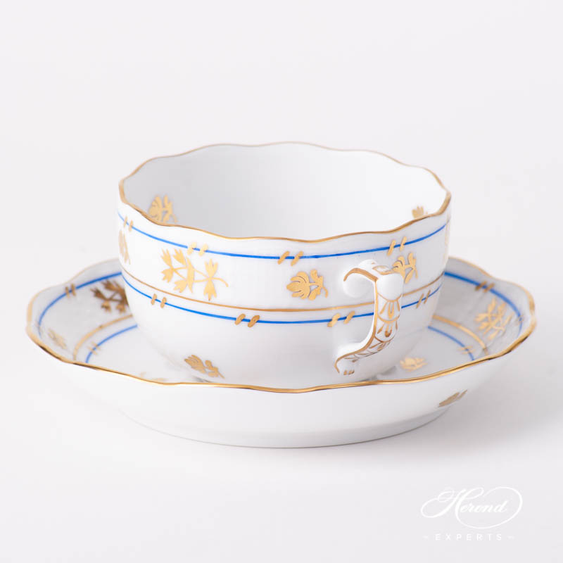 Tea Cup w. Saucer 724-0-00 BAT Batthyany Blue design. Herend fine china