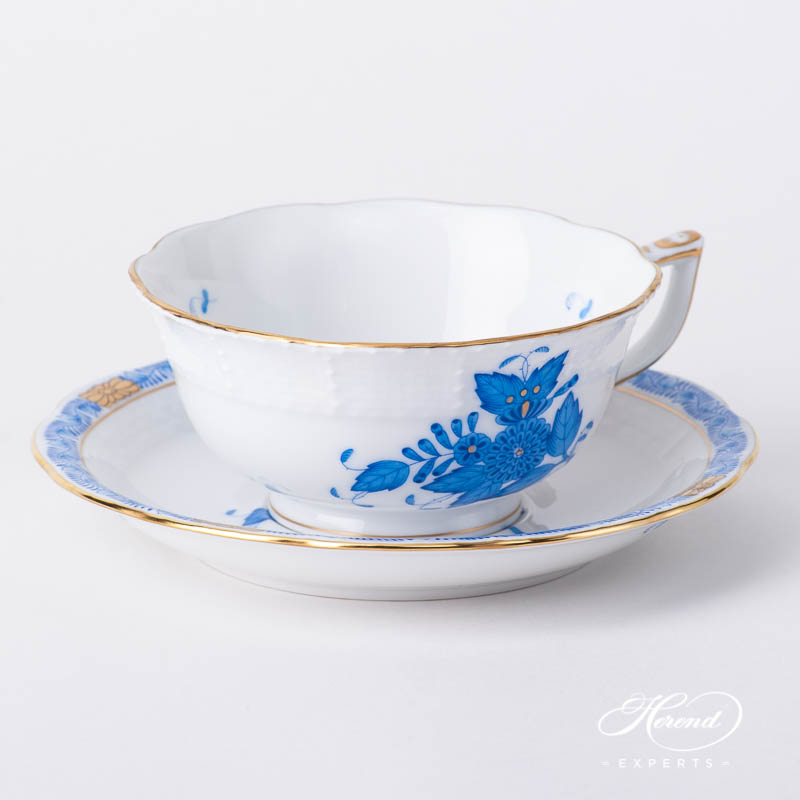 Tea Cupw. Saucer 734-0-00 AB Chinese Bouquet / Apponyi Blue design. Herend fine china