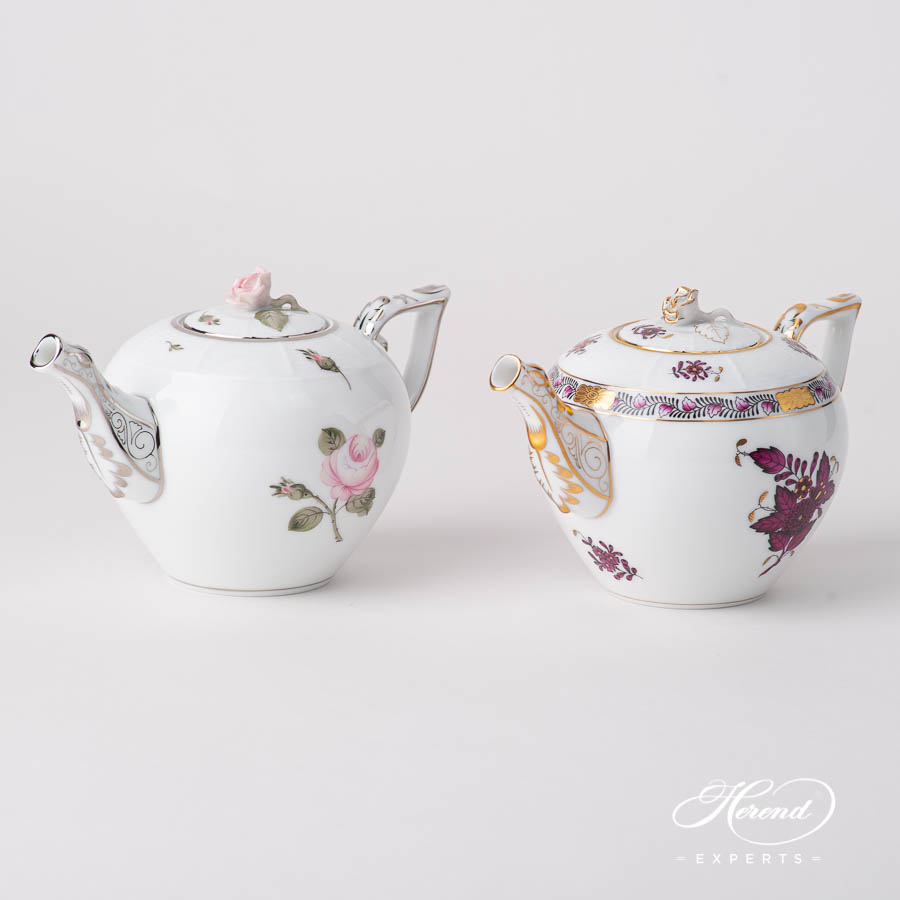 Mini Tea Pots w. Rose Knob - Viennese Rose Platinum VGR-PT and Chinese Bouquet / Apponyi Burgundy  AP3-X1 designs. Herend fine china