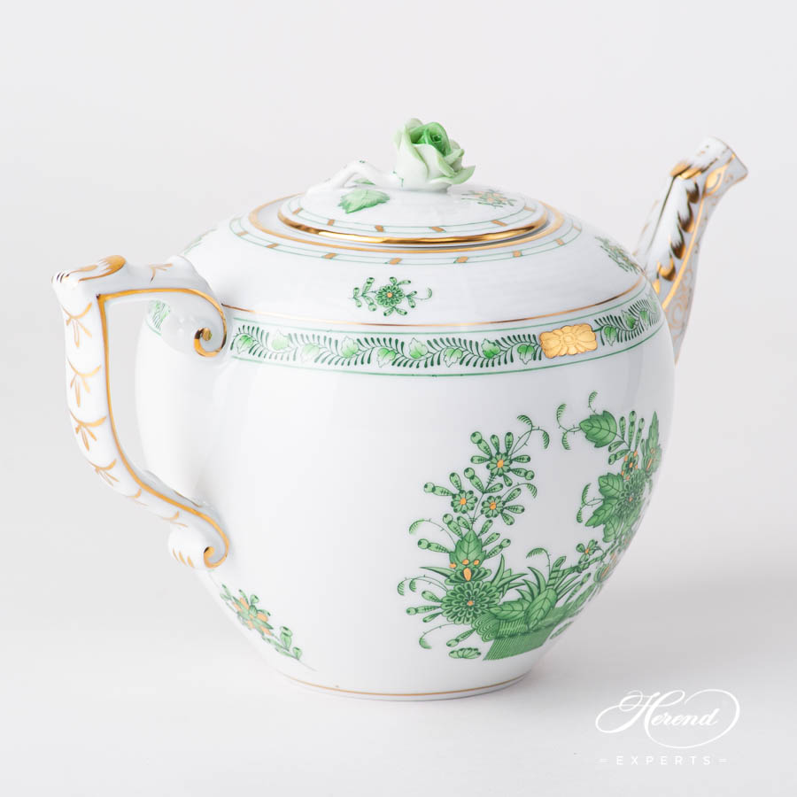 Tea Pot w. Rose Knob 606-0-09 FV Indian Basket Green design. Herend fine china