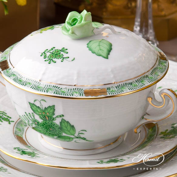 Place Setting 7 Pieces - Herend Chinese Bouquet / Apponyi Green AV design. Herend fine china