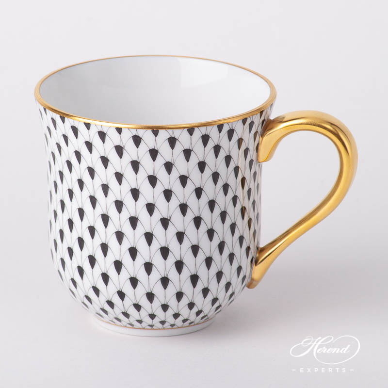 Universal Cup / Breakfast Cup 2729-0-00 VHN Black Fish Scale pattern. Herend fine china