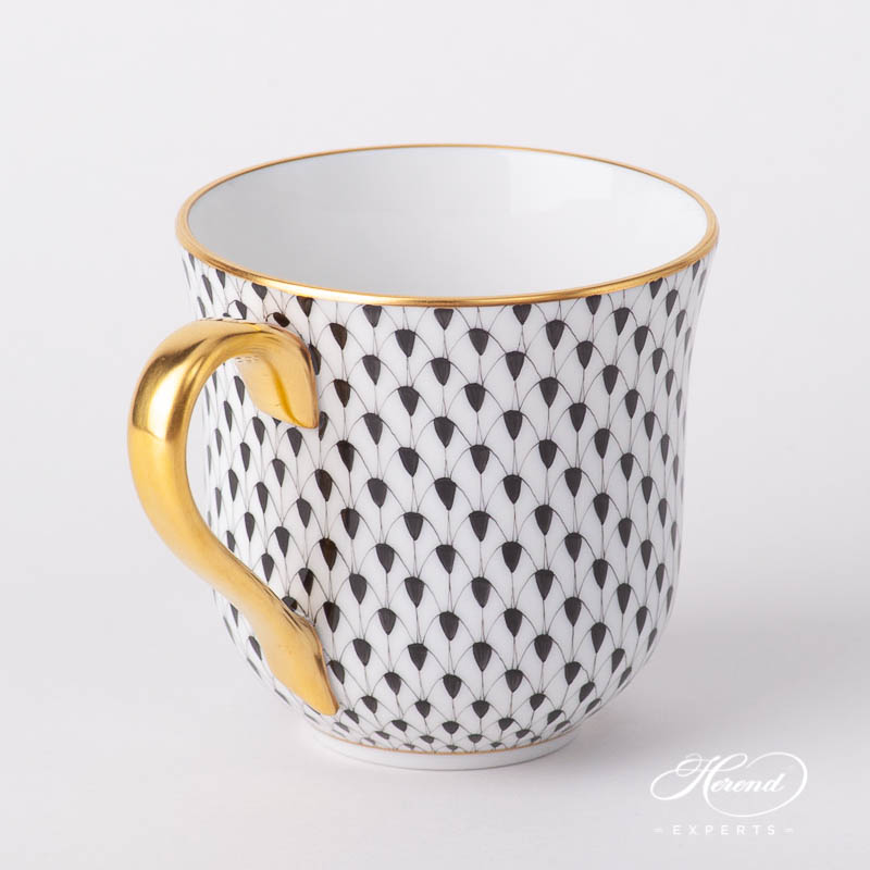 Universal Cup /Breakfast Cup 2729-0-00 VHN Black Fish Scale pattern. Herend fine china