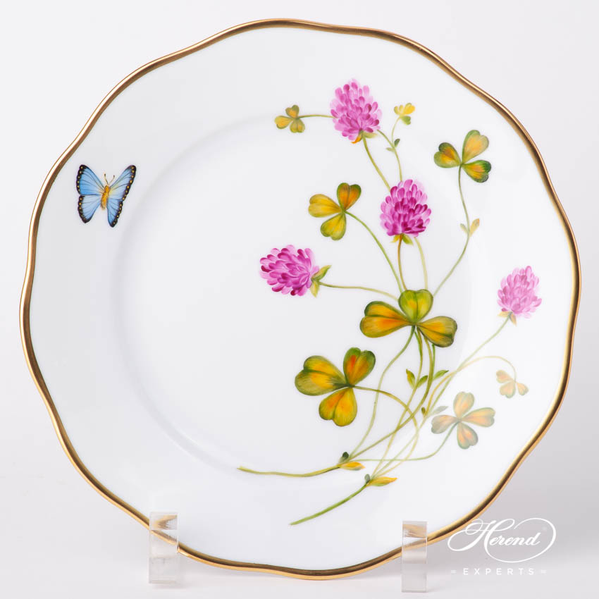 Dessert Plate 20519-0-00 FLA-CL American Wildflowers / Red Clover pattern. Herend fine china