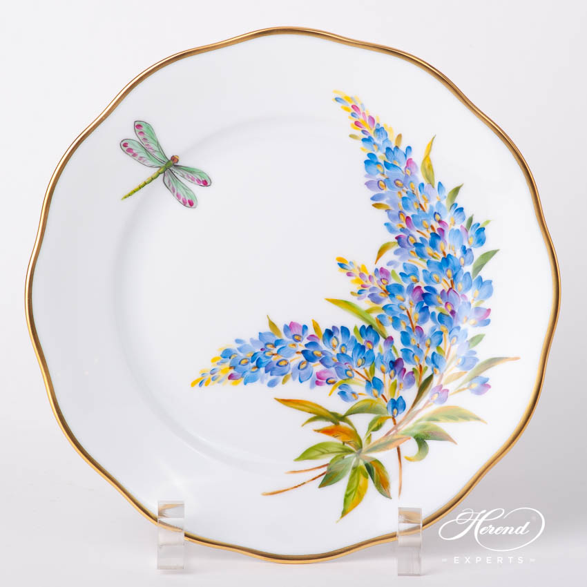 Dessert Plate 20519-0-00 FLA-BB American Wildflowers / Texas Bluebonnet pattern. Herend fine china