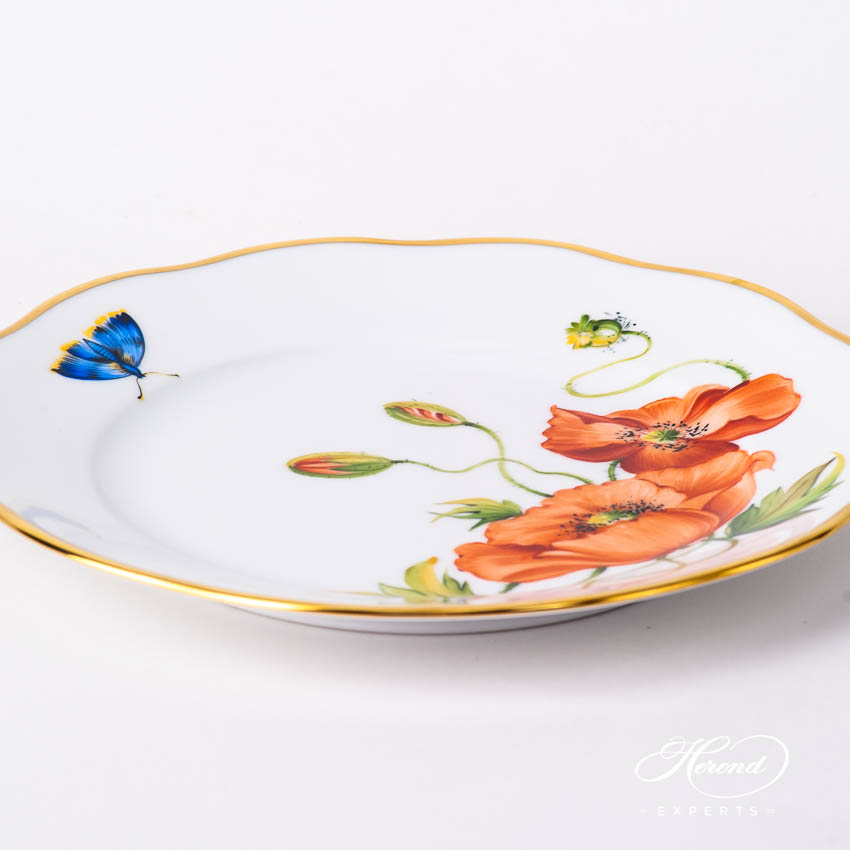 Dessert Plate 20519-0-00 FLA-PO American Wildflowers / California Poppy pattern. Herend fine china