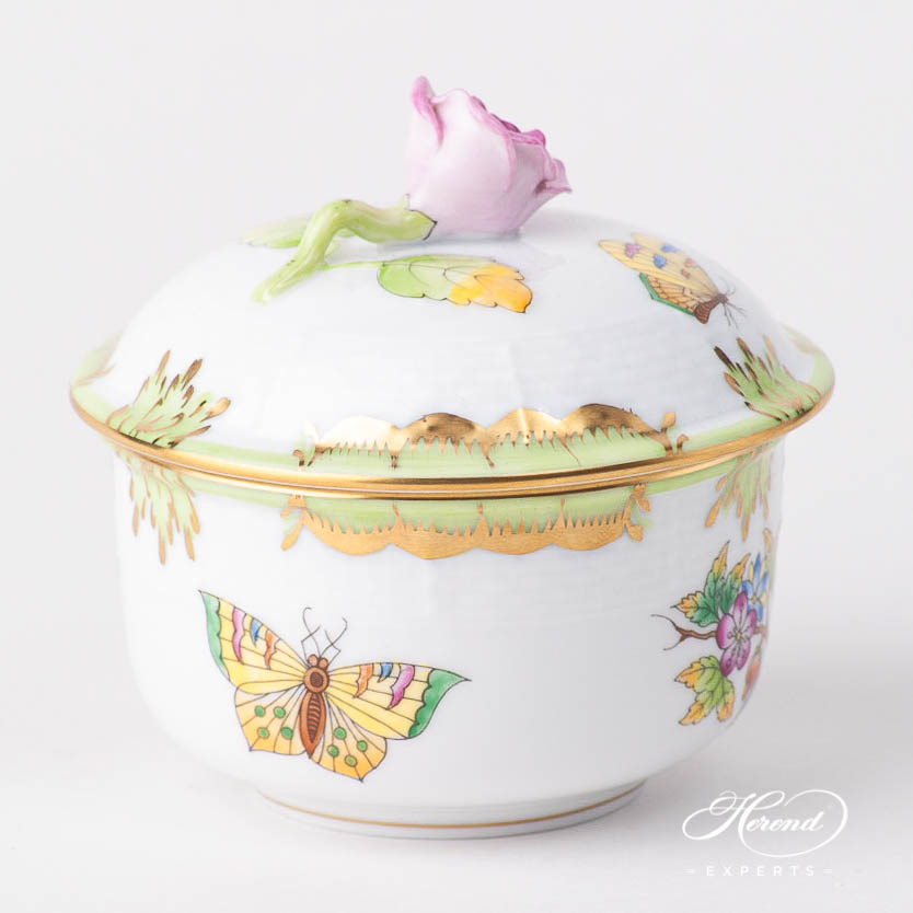 Fancy Box / Sugar Basin w. Rose Knob 464-0-09 VBO Queen Victoria design. Herend fine china