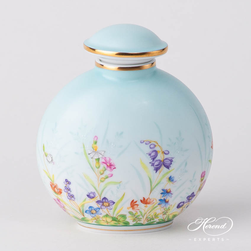Bottle w. Button Knob 6069-0-15 QS Four Seasons Flower design. Herend fine china