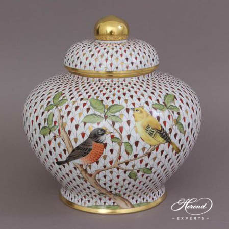 Ginger Jar w. Button Knob 6359-0-15 VHSP18VT1 Special Fish Scale w. Gold design. Herend fine china