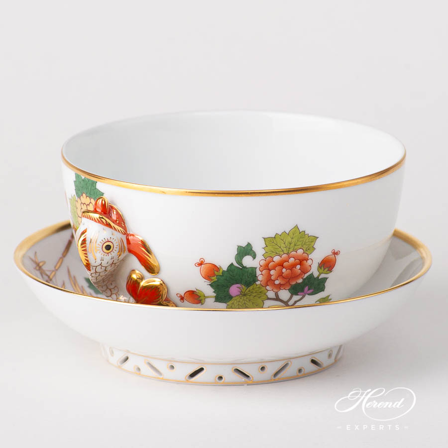 Soup Cup w. Dolphin Handles 2749-2-00 GRUE design. Herend fine china