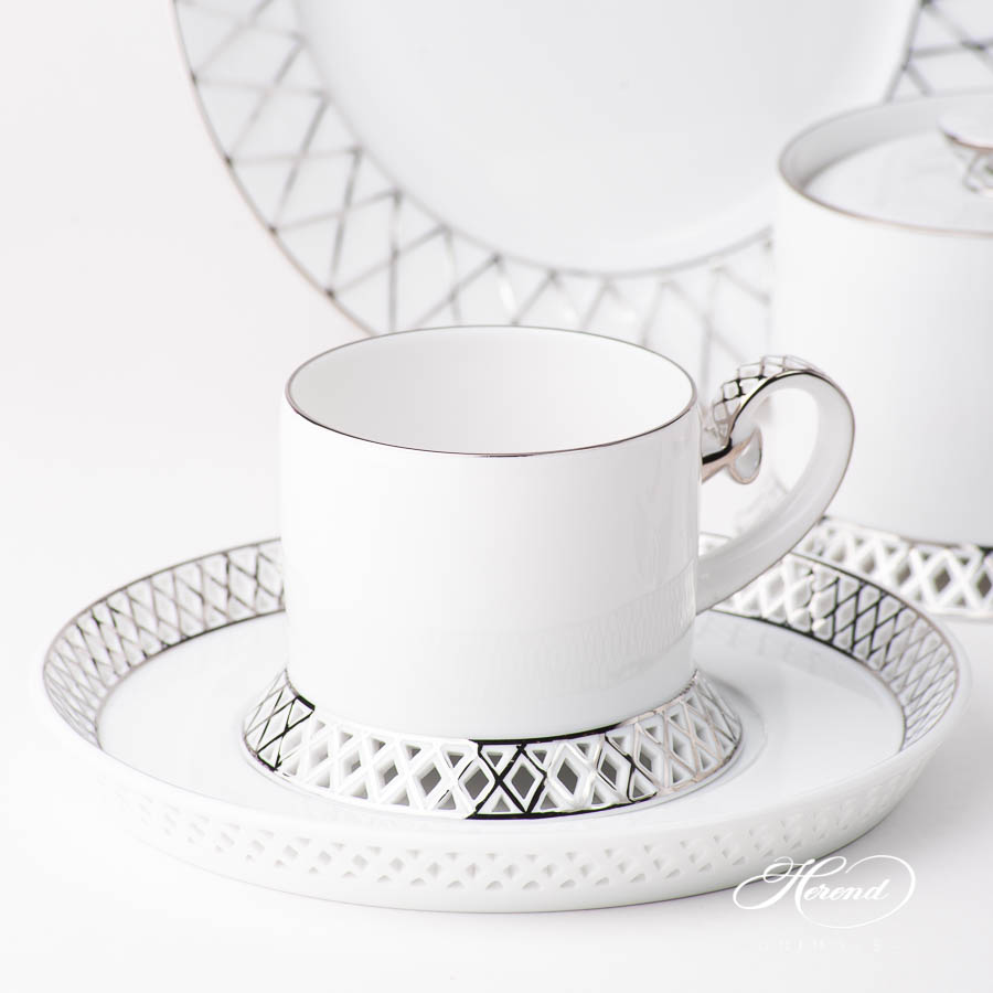 Tea Set for 2 Person - Herend BABOS-PT Platinum Edge pattern. Herend fine china