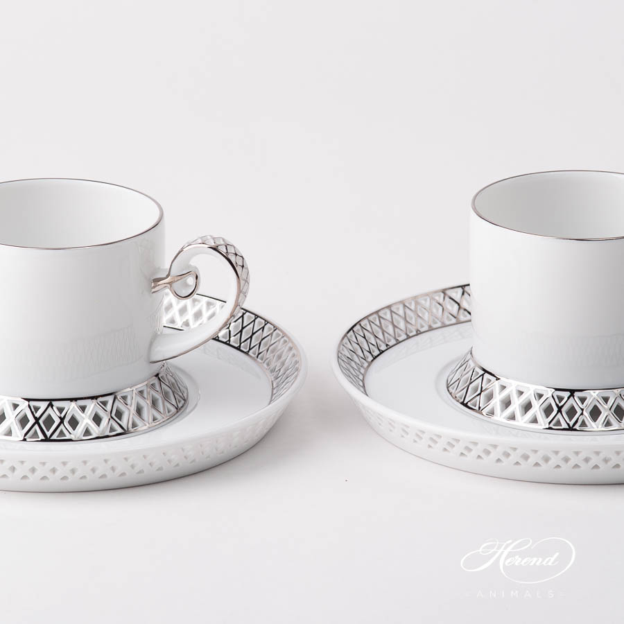 Tea Cup w. Saucer 4755-0-00 BABOS-PT Platinum Edge design. Herend fine china
