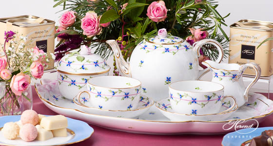 Cornflower Garland Herend tea set