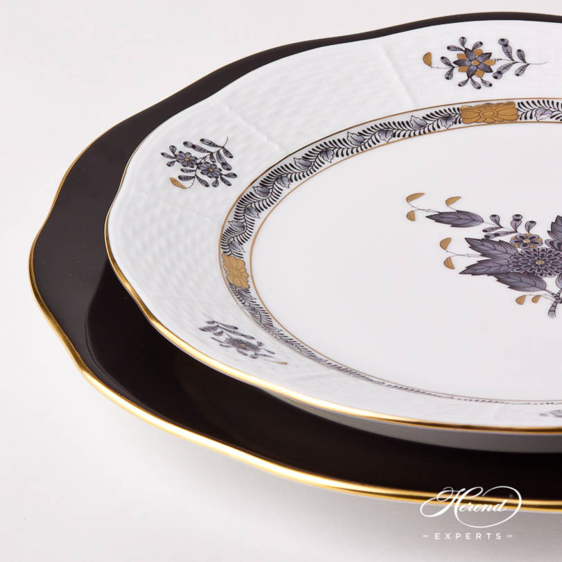 Dinner Set for 12 Person - Herend Chinese Bouquet Black / Apponyi Black - ANG design. Herend fine china