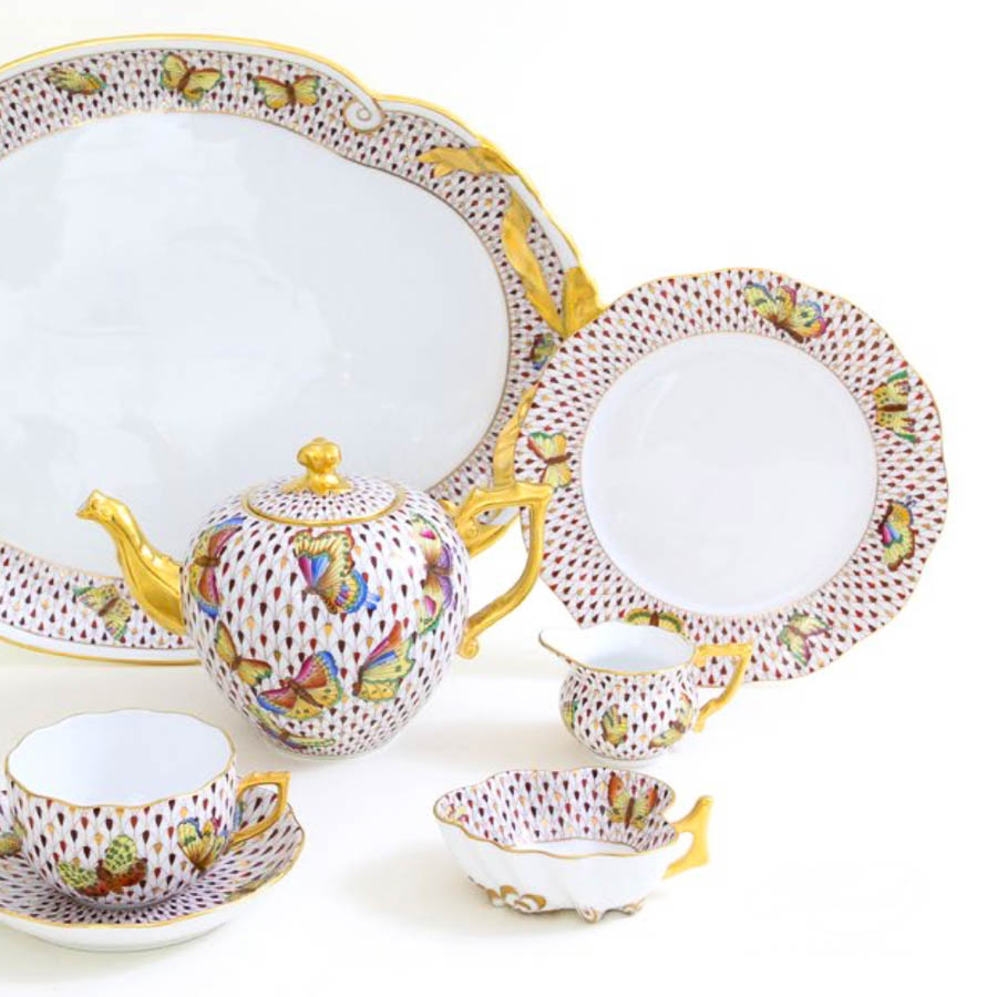 Tea Set for 2 People - Herend Special Fish Scale - VHSP18VT pattern. Herend fine china
