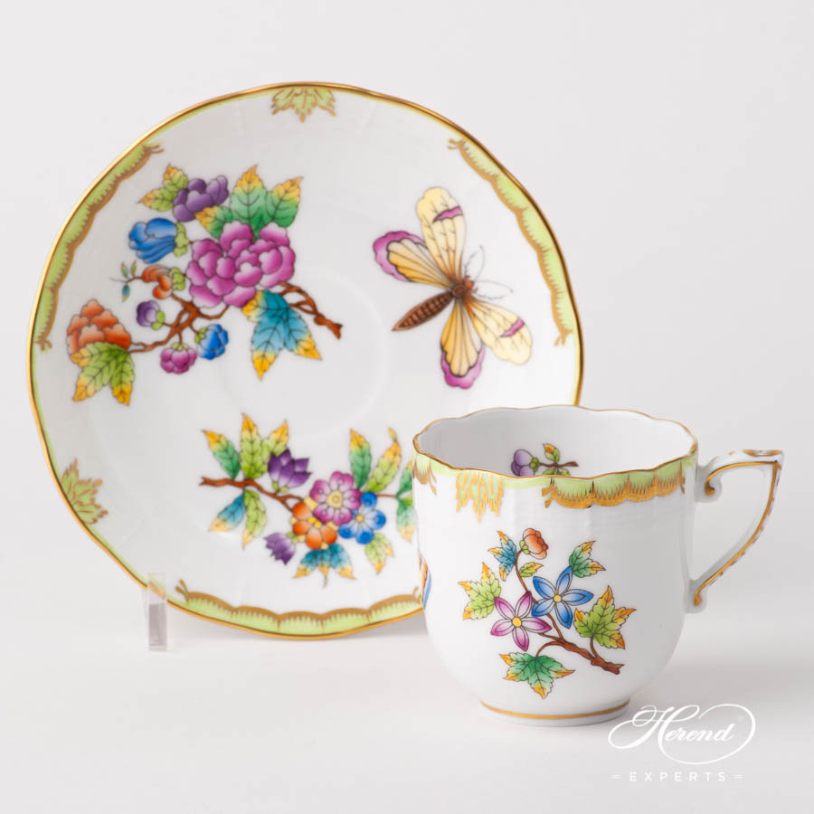 Coffee Cup w. Saucer 707-0-00 VBO Queen Victoria design. Herend fine china