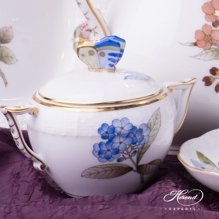 Sugar Basin w. Butterfly Knob - Herend Victoria Grand Blue - VICTMC9 design. Herend fine china