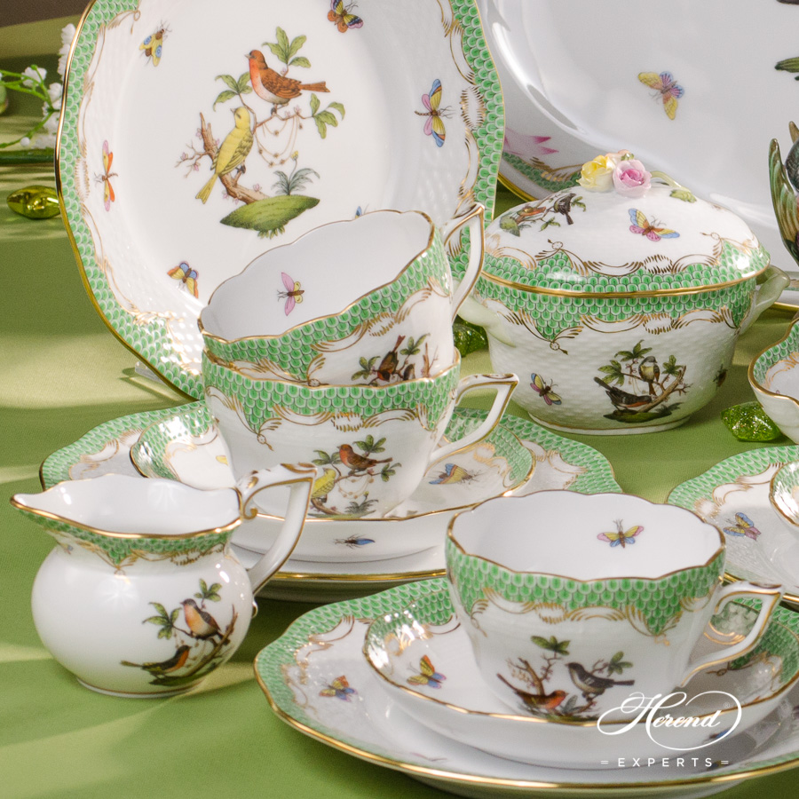 Tea Set for 6 People w. Ribbon Tray - Herend Rothschild Bird Green Fish Scale - RO-ETV design. Herend fine china