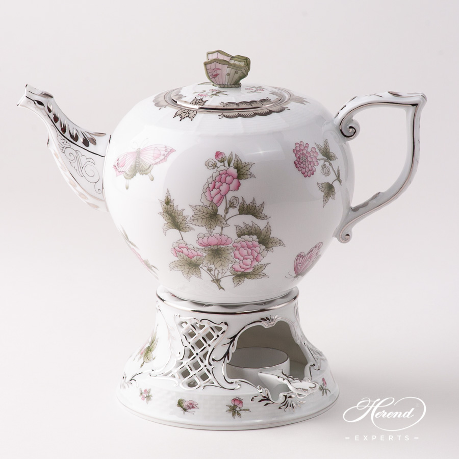 Large Tea Pot w. Tea Stove - Herend Queen Victoria Platinum - VBOG-X1-PT design. Herend fine china