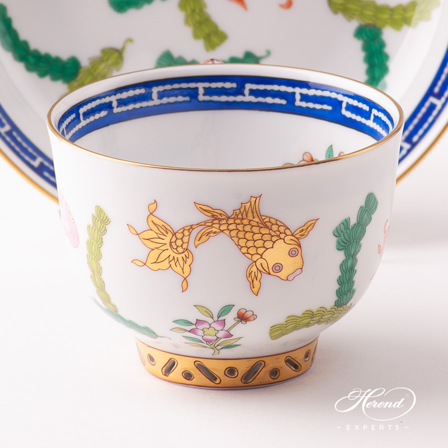 Teacup w. Mandarin Handle and Saucer 3364-0-21 PO Fishes pattern. Herend fine china