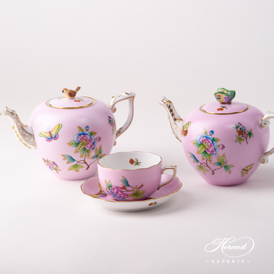 Tea Pots - Herend Queen Victoria on Pink background - VE-FP1 design. Herend fine china