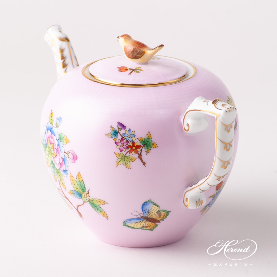 Tea Pot w. Bird Knob 20606-0-05 VE-FP1 Queen Victoria on Pink background design. Herend fine china