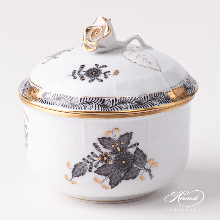 Sugar Basin w. Rose Knob 463-0-00 ANG Chinese Bouquet / Apponyi Black pattern. Herend fine china