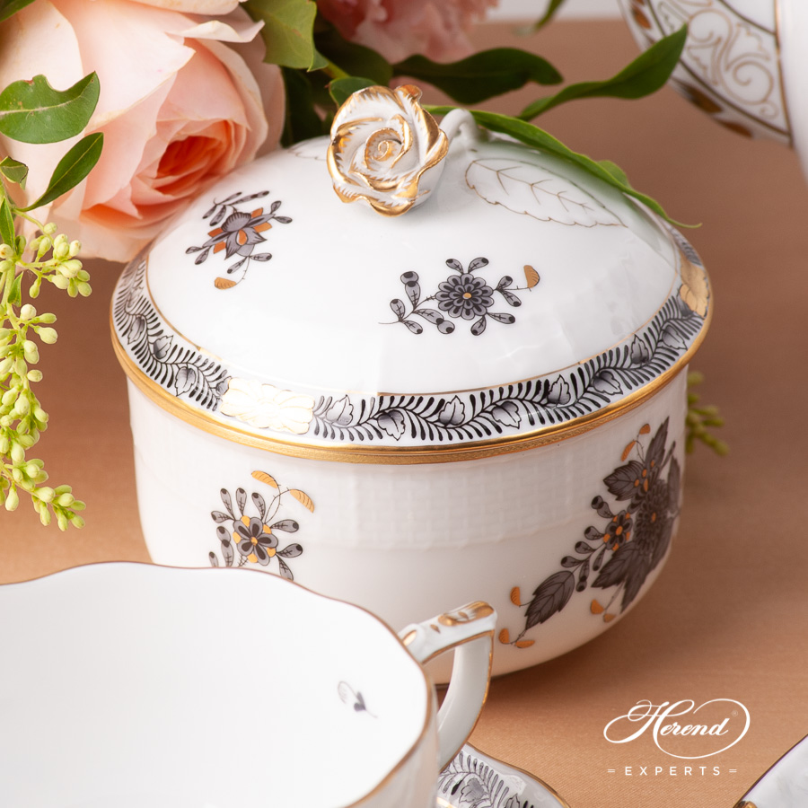 TeaSet for 2 People- Herend Chinese Bouquet / Apponyi Black - ANGdesign. Herend fine china
