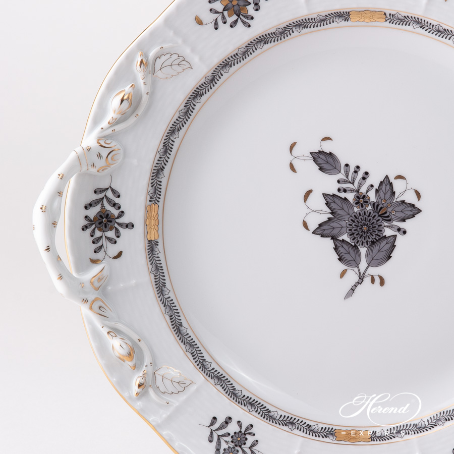 Round Dish w. Handles 173-0-00 ANG Chinese Bouquet / Apponyi Black pattern. Herend fine china