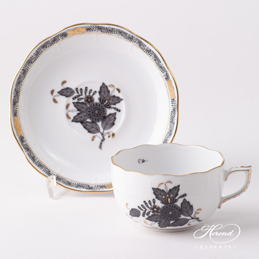 Tea Cup w. Saucer 724-0-00 ANG Chinese Bouquet Black / Apponyi Black design. Herend fine china