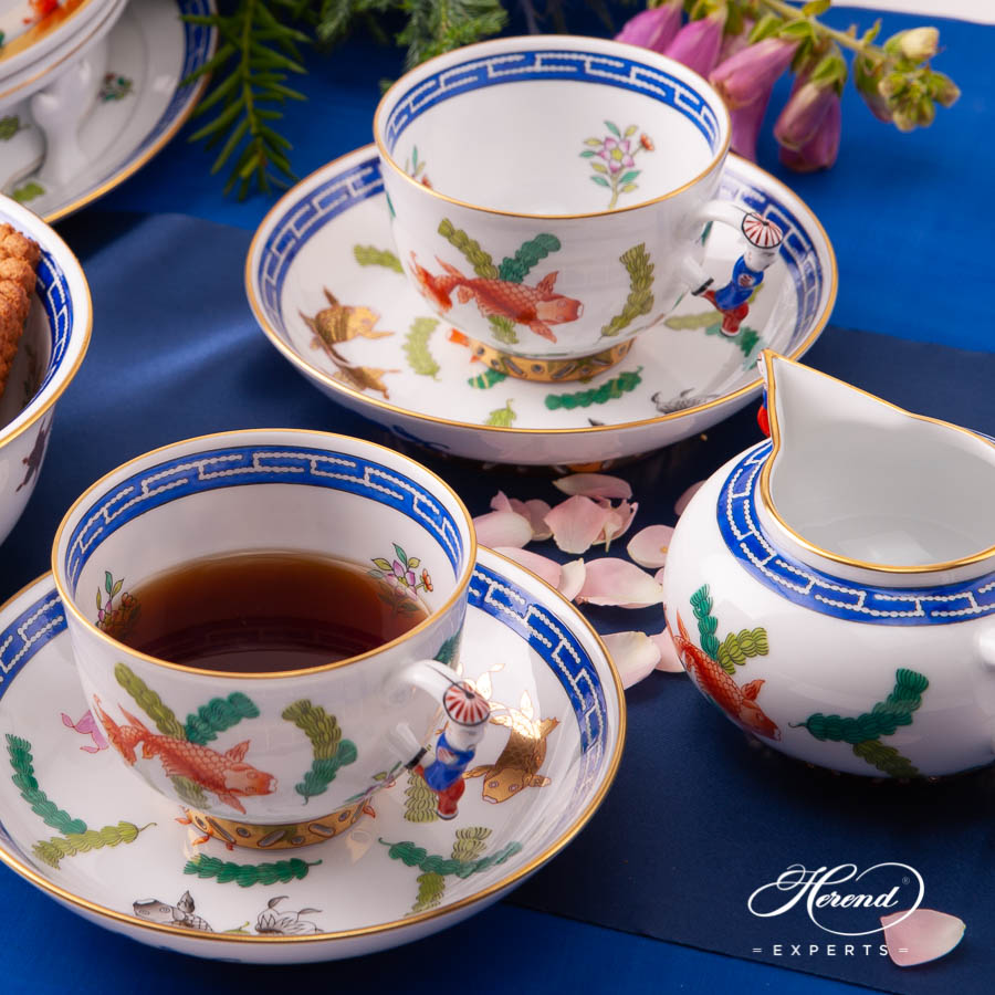Tea Set for Four Person - Herend Fishes / PO pattern. Herend fine china