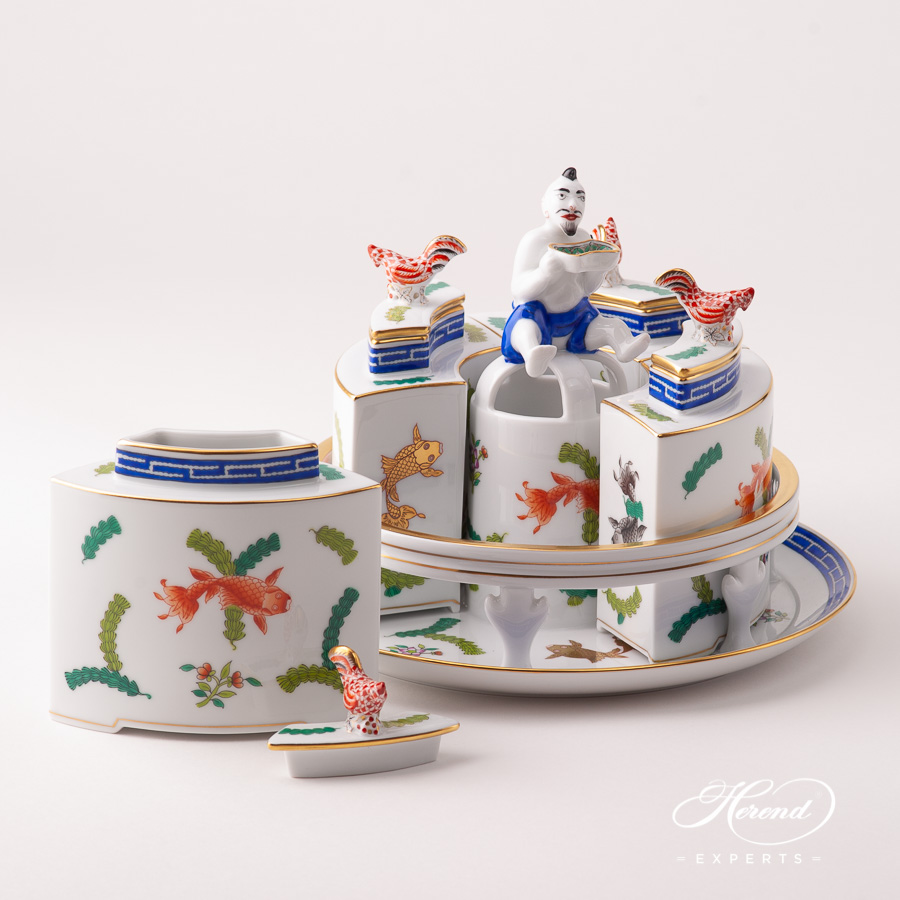 Tea Caddy w. Tray 6370-0-21 PO Fishes pattern. Herend fine china