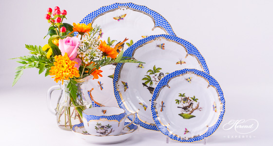 Rothschild Blue place setting of Herend