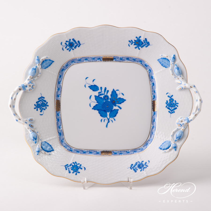 Cake Plate w. Handles 430-0-00 AB Chinese Bouquet / Apponyi Blue pattern. Herend fine china