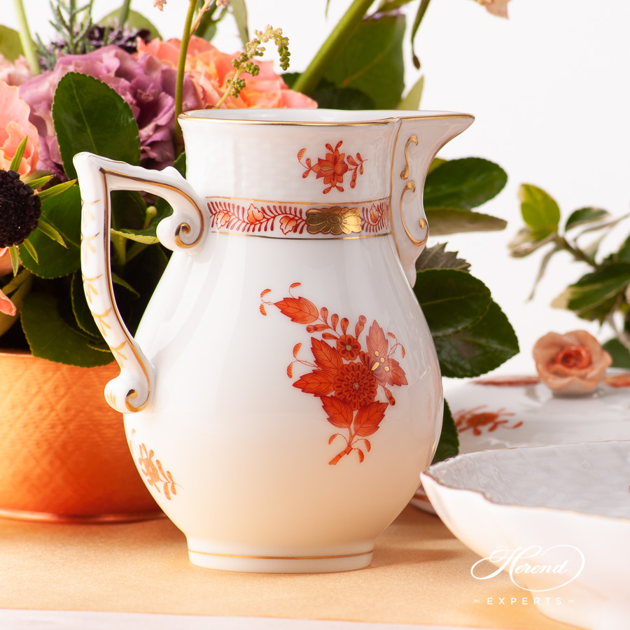 Coffee Set for 2 People - Herend Chinese Bouquet Rust / Apponyi Orange - AOG pattern. Herend fine china