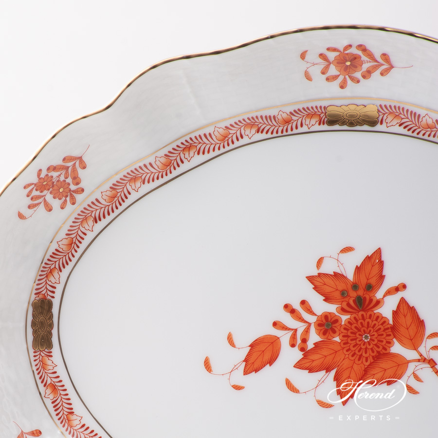 Oval Dish 211-0-00 AOG Chinese Bouquet Rust / Apponyi Orange design. Herend fine china