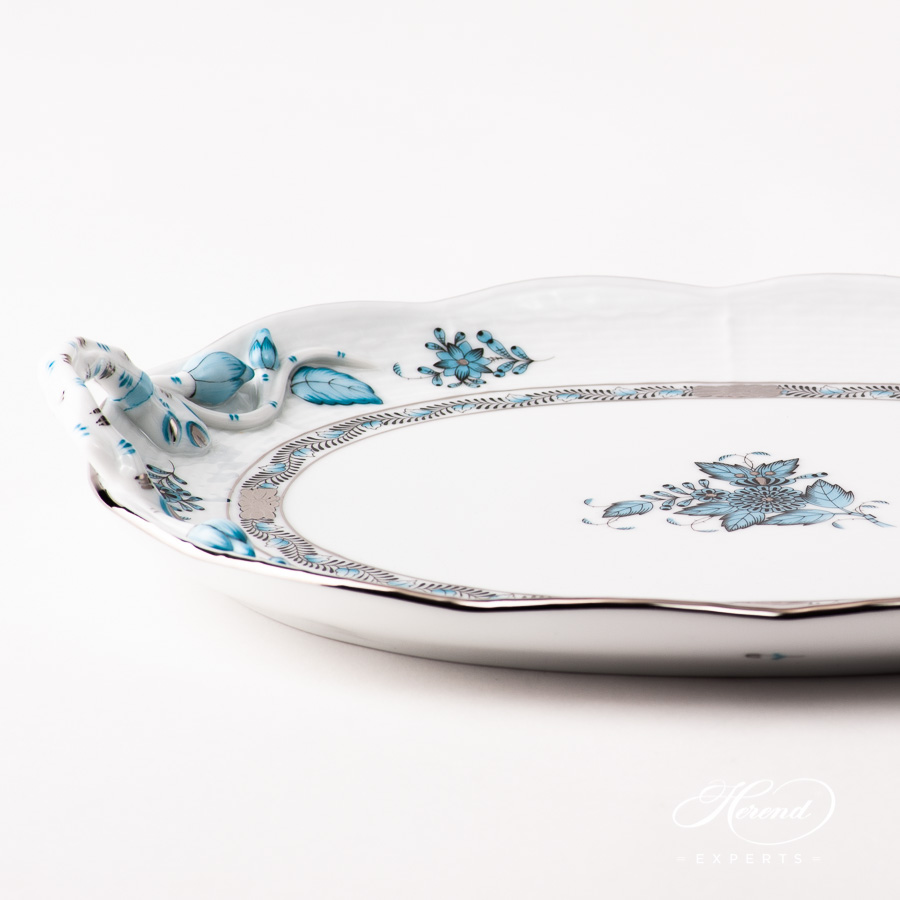 Cake Plate w. Handles 412-0-00 ATQ3-PT Chinese Bouquet / Apponyi Turquoise w. Platinum pattern. Herend fine china
