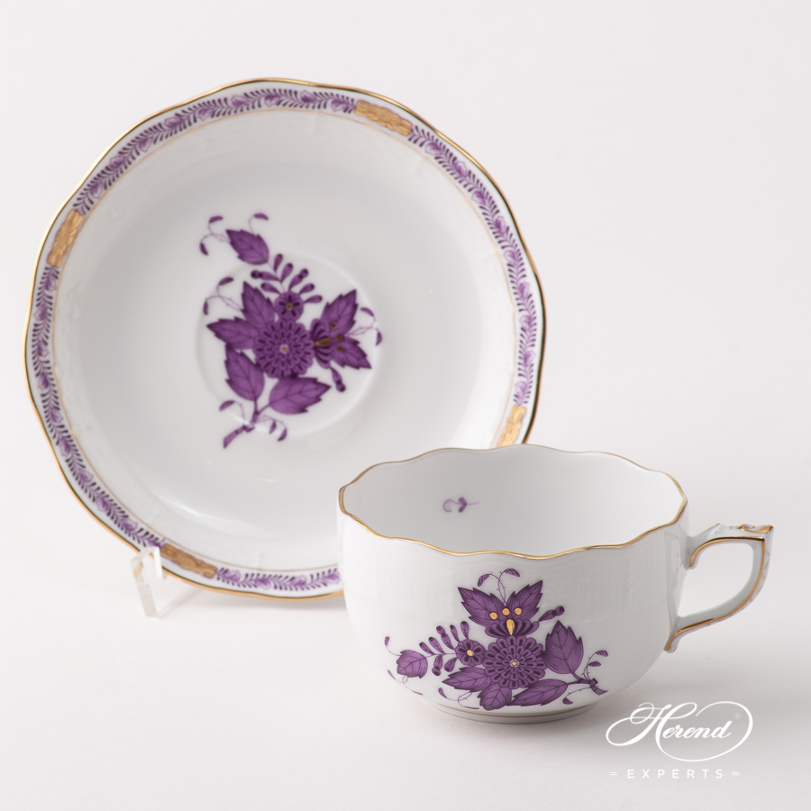 Teacup w. Saucer 724-0-00 AL Chinese Bouquet / Apponyi Lilac design. Herend fine china