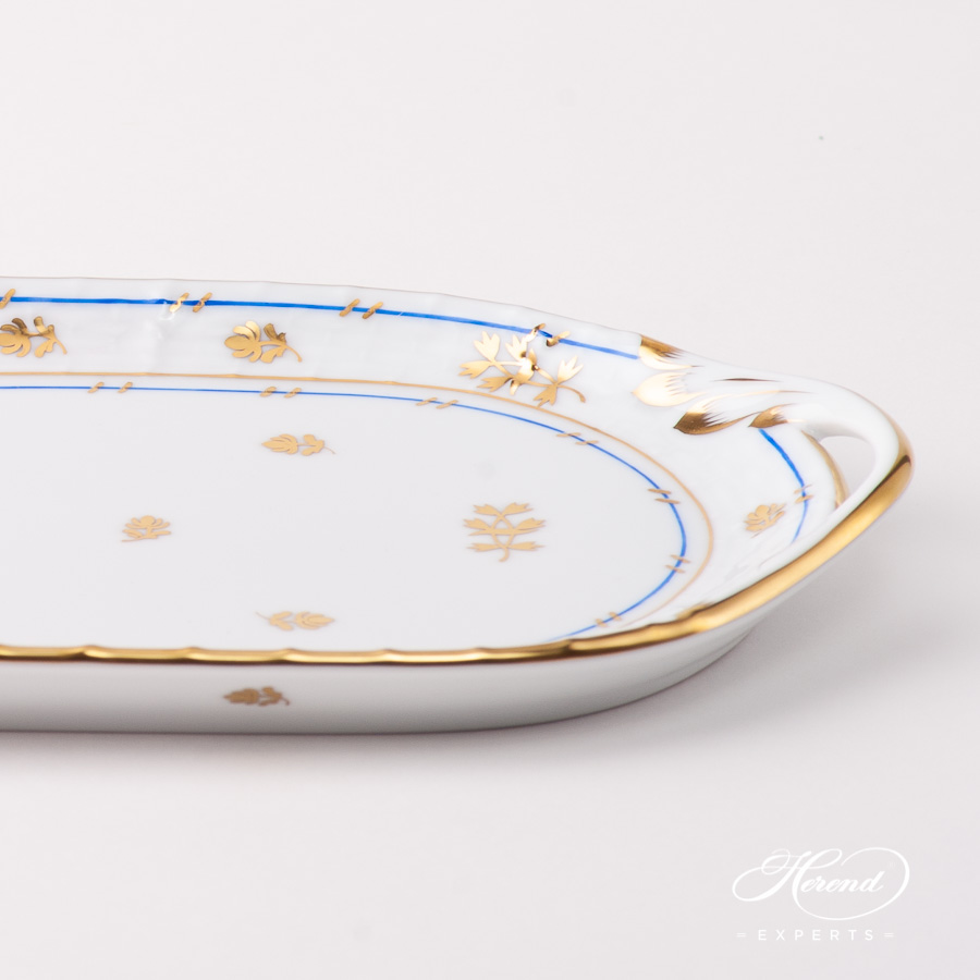 Sandwich Dish with Handles 436-0-00 BAT Batthyany Blue pattern. Herend fine china