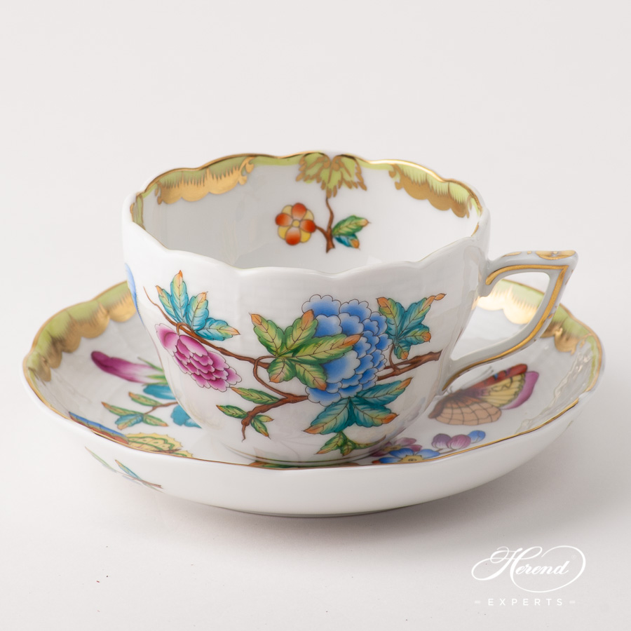 Tea Cup / Coffee Cup w. Saucer 730-0-00 VICTORIA - Old Queen VICTORIA design. Herend fine china
