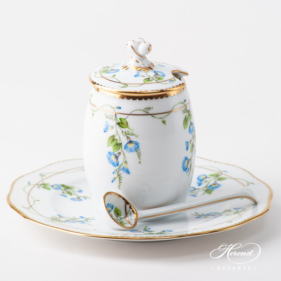 Mustard Pot with Mustard Spoon 20242-7-06 NY Nyon / Morning Glory design. Herend fine china
