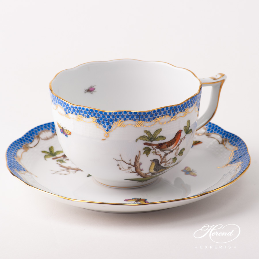 Large Tea Cup w. Saucer 700-0-00 RO-ETB Rothschild Bird Blue Fish Scale pattern. Herend fine china