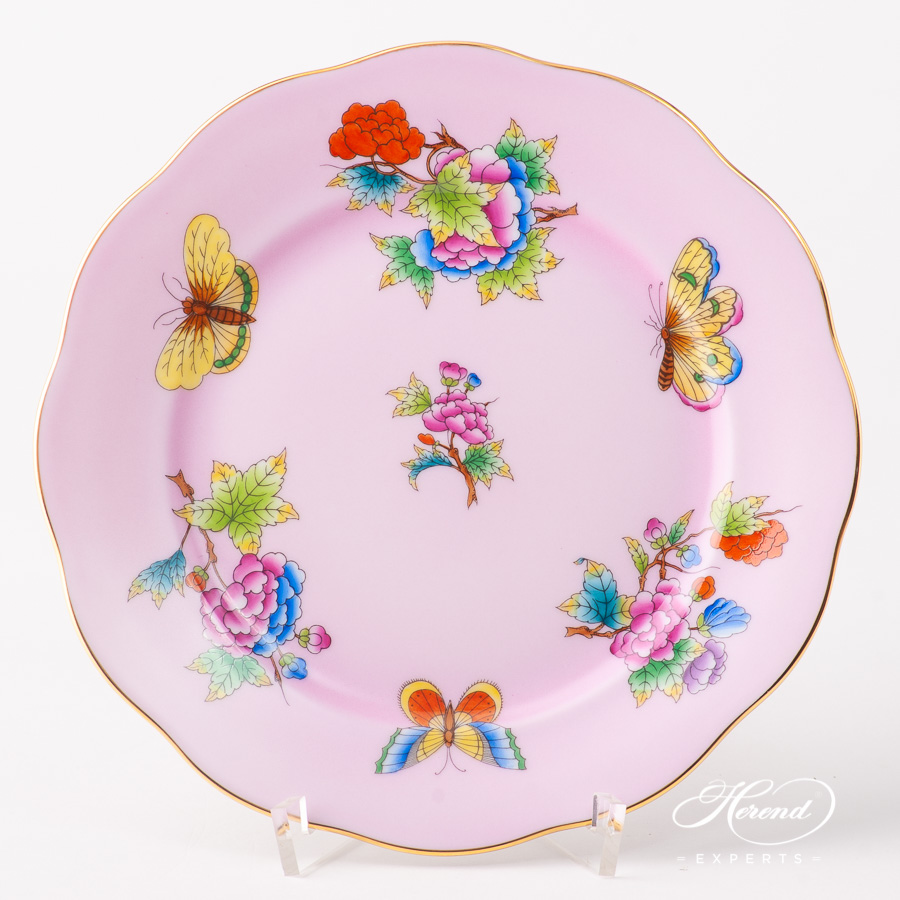 Dessert Plate 20517-0-00 VE-FP1 Queen Victoria on Pink background design. Herend fine china