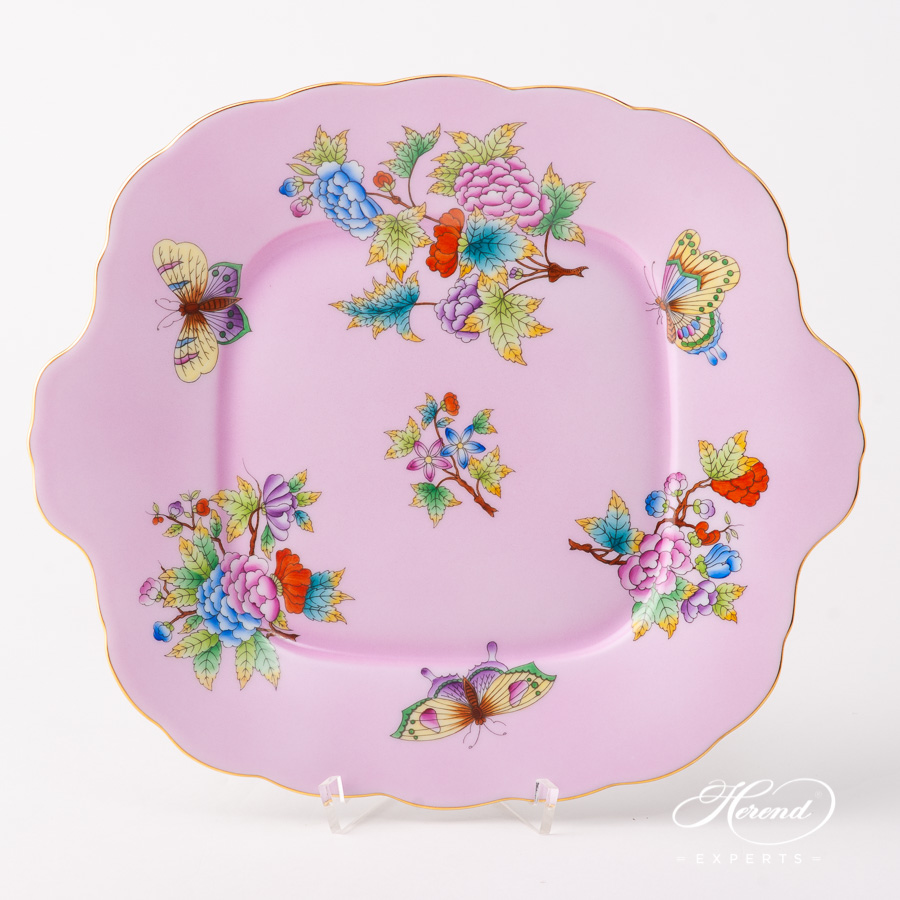Cake Plate 20431-0-00 VE-FP1 Queen Victoria on Pink background design. Herend fine china