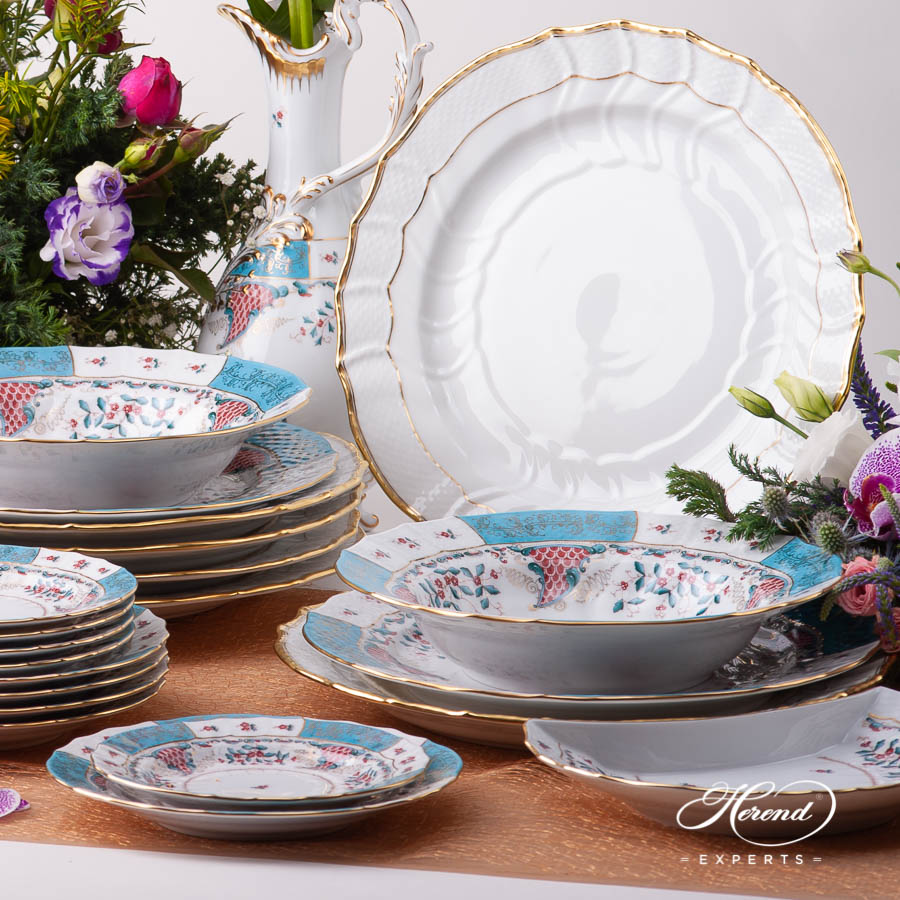 Dinner Set for Six Person- Herend Tupini TCA design. Herend fine china